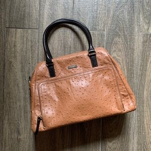 Kate Spade Brown Stamped Ostrich Bowling Bag